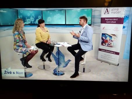 """Projekt AM """"Šance na život"""" o dárcovství kostní dřeně v TV NOE -živě 24.2.2020"""