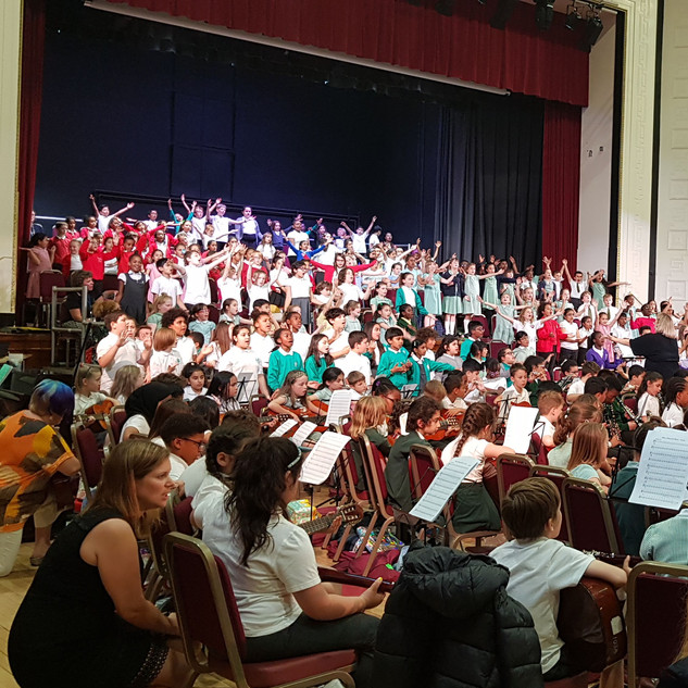 Massed choir and orchestra