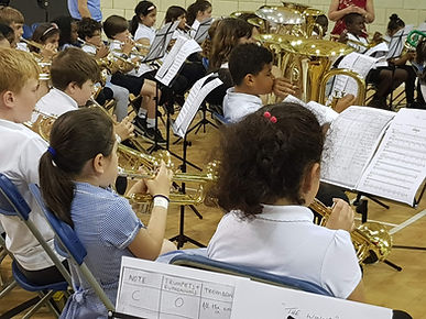Whole class brass rehearsal