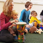 Mini musicians playing drums