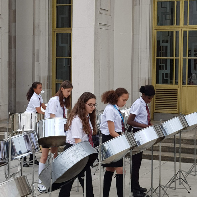 Steel pan band outside the Assembly Hall