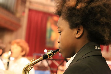 Pupil playing a saxophone