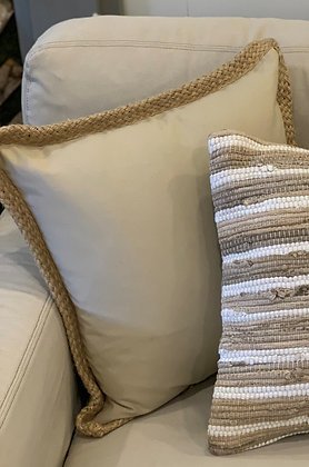 "Jute braided pillow - 20"" down filled"