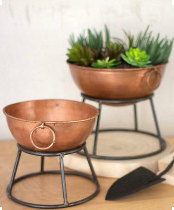 Set of Copper Finish Bowl Planters with Metal Stands
