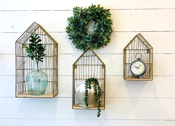 """Gold Wire """"House"""" Display Shelving-Large"""