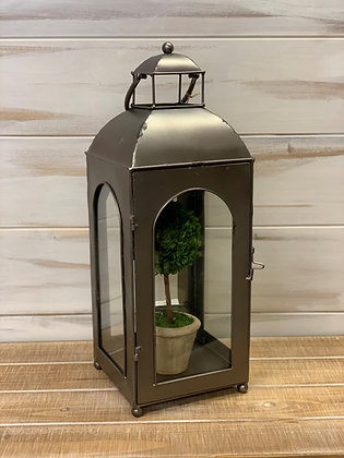 Metal Lantern with Arched Glass & Hinged Door