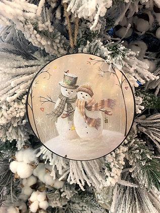 Snow Couple Tin Ornament