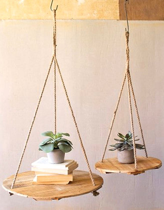 Set of Two Round Recycled Wood Display Hangers with Jute Rope