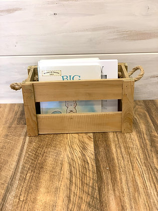 Wood Crate with Rope Handles ~ Small