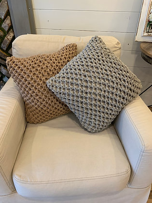 "Knitted 20"" square pillow"