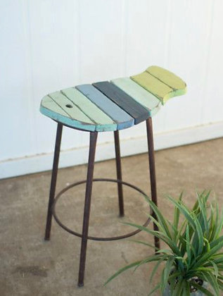 Painted Wood & Metal Counter Stool