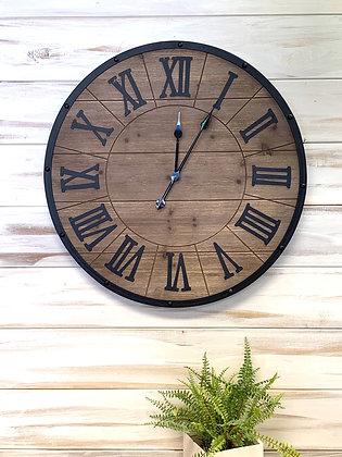 Wood & Black Clock