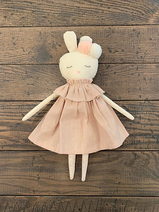 Isabella Pink Linen Bunny Doll