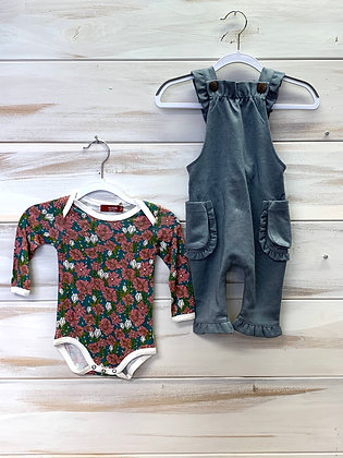 Green floral Long sleeve bodysuit - 3-6 months