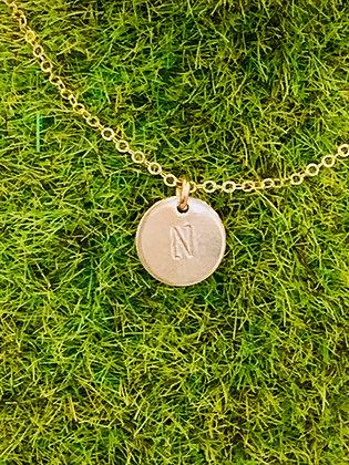 Mini tag Upper case letter necklace
