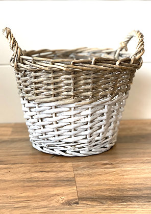 Natural & White Basket with Handles ~ large