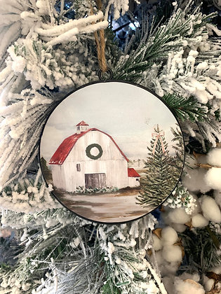 Barn disc ornament