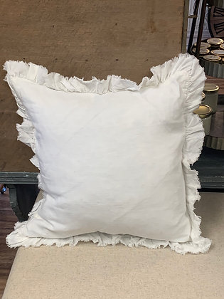 "Linen Ruffled 20"" square pillow"