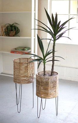 Set of 2 Seagrass Planters on Iron Base