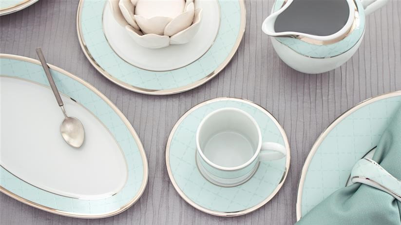 Porcel's Ethereal Blue dinner set by with pastel blue edging