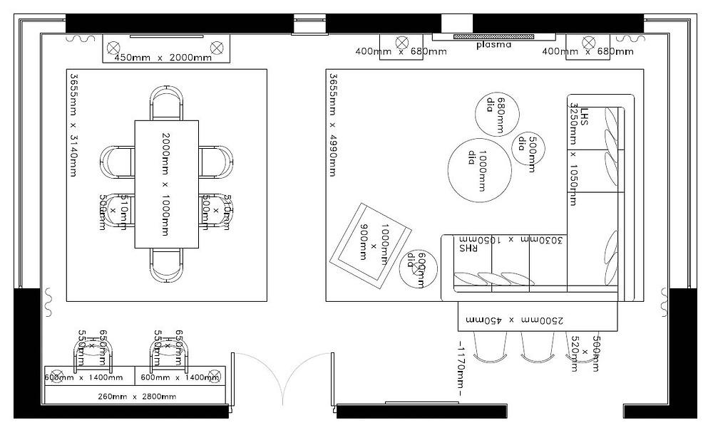 Floor Plan of an open plan living / dining room. Interior design by Vesta Design
