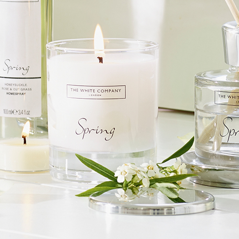 The White Company Spring scented candle and diffuser