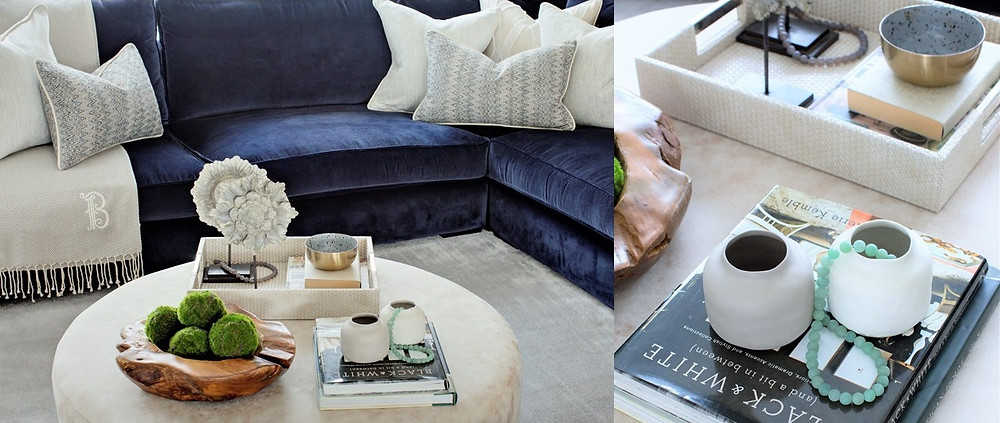 A coffee table with accessories. Interior design by Vesta Design