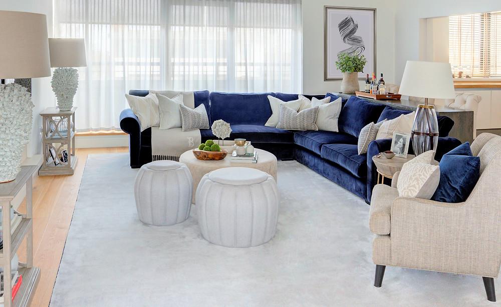 A living room with large corner sofa. Interior Design by Vesta Design.