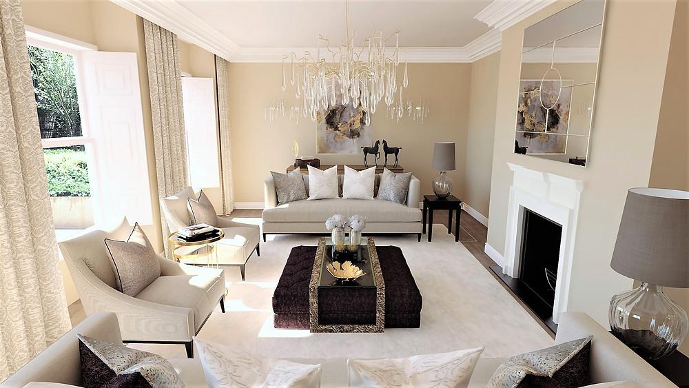 Regency Townhouse Living Room. Interior Design by Vesta Design