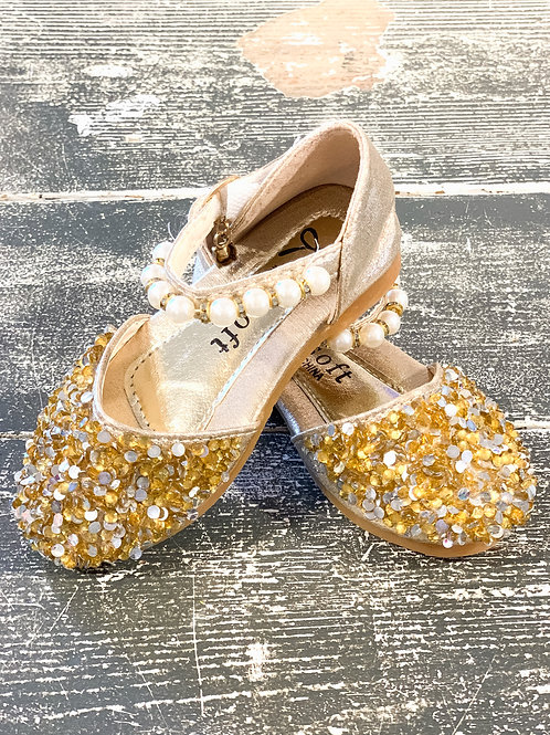 Gold Sequin & Pearl Mary Jane Shoes