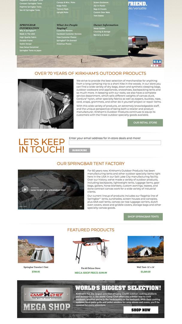 KIRKHAMS WEBSITE / HOME PAGE MENU