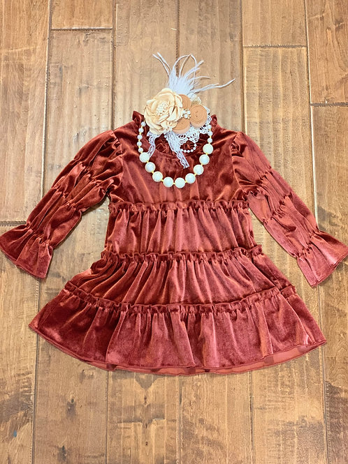 Rust Tiered Velour Dress