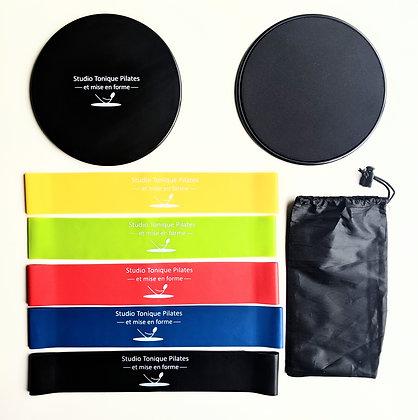 Ensemble sac fourre-tout, boucles élastiques et disques glisseurs    polyvalents