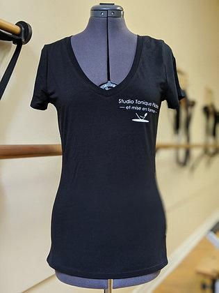 Chandail manche courte femme avec logo du Studio Coton Biologique
