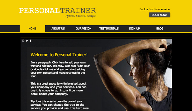 Sport en recreatie website templates – Fitnesstraining