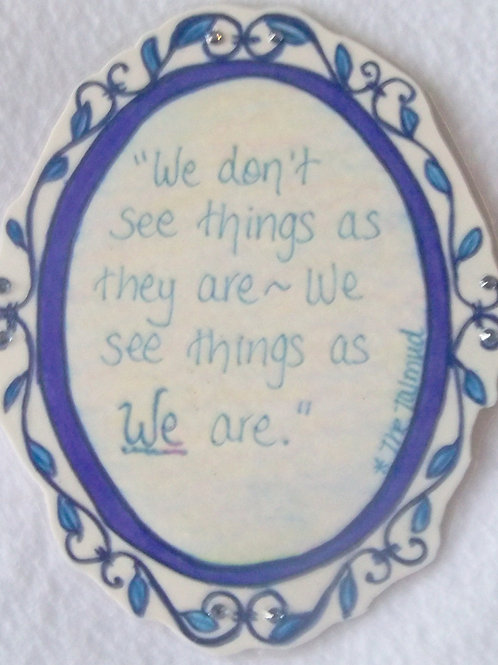 GQ12 Mirror~Talmud quote w/ Swarovski crystals