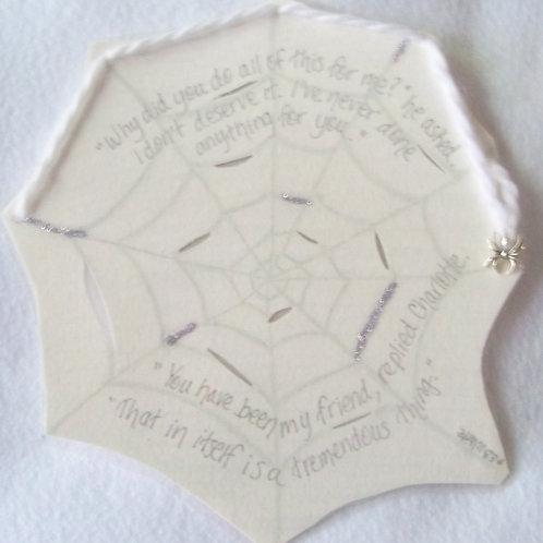 GQ104 Cobweb~E.B. White quote with sterling silver spider charm