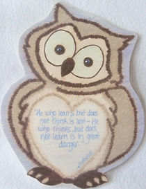Confucius owl learn think giftd quote