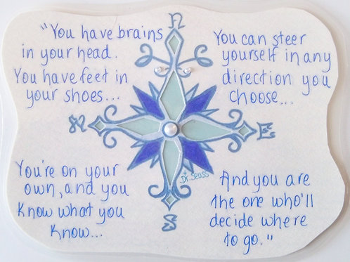 GQ95~ Compass Rose~Dr. Seuss quote w/ Swarovski crystals