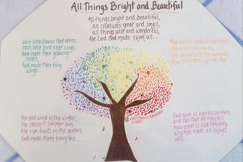 GQ68 Tree Bright~All Things Bright and Beautiful quote w/ Swarovski crystals