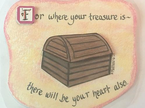 GQ13 Treasure~ Matthew 6:21 w/ Swarovski crystals
