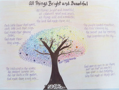 All things bright and beautifu song hymn tree swarovski crystals lyrics