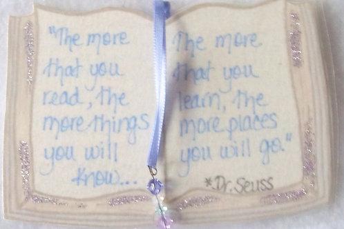 GQ16 Book~ Dr. Seuss quote w/Swarovski beads