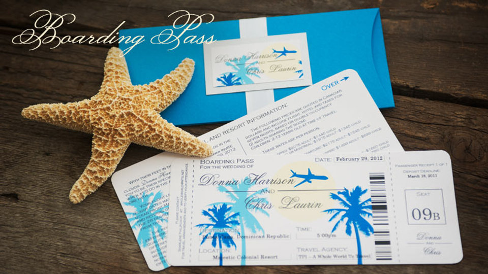 Palm Tree Boarding Pass - Invitation