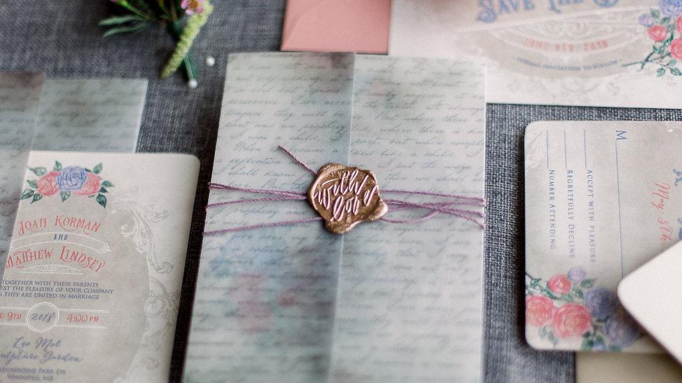 Vintage Love Letter - Wax Seal Invitation