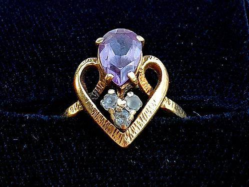 10k Gold Purple Topaz & Aquamarine Ladies Ring