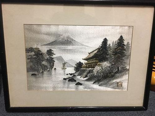 Framed Japanese hand embroidered silk, signed