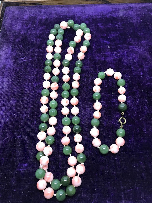 Genuine Jade And Coral 35 Inch Bead Necklace And Bracelet Set
