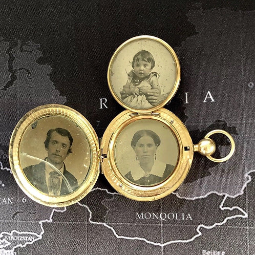 Antique Victorian Tri-folding Etched Gold Filled Locket With Orig. Family Photos