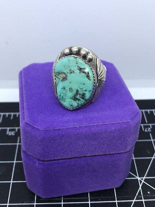 Navajo Turquoise And Silver Ring Size 11